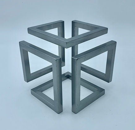 Large Steel Infinity Cube Sculptural Ornament with Powder Coate