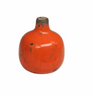 Small Bright Orange Ceramic Vase with Crackle Finish