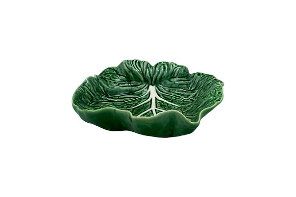 Bordallo Pinheiro Hand Painted Earthenware Concave Cabbage Leaf Bowl 26cm