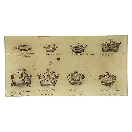 John Derian Crowns Decoupage Rectangular Pencil Tray