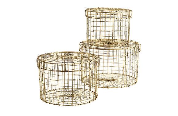 Madam Stoltz Set of 3 Wire Baskets with Lids