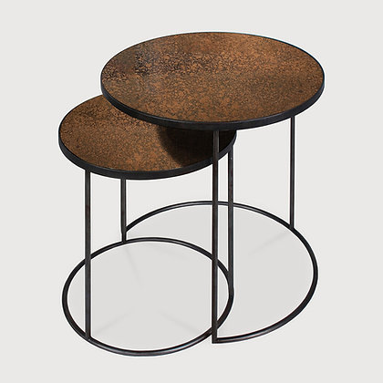 Ethnicraft Set of 2 Round Bronze Copper Nesting Side Tables