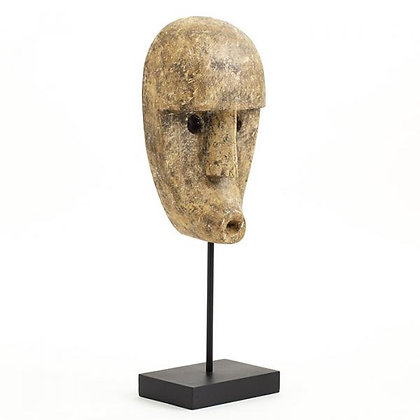 Flamant Olina Decorative Carved Wooden  Mask on Stand