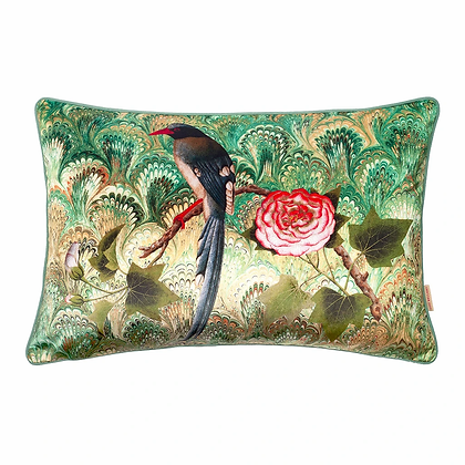 Susi Bellamy Bird and Rose Printed Velvet Cushion