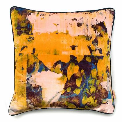 Susi Bellamy Osmosi Giallo Printed Velvet Cushion
