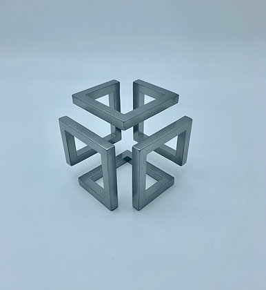 Small Steel Infinity Cube Sculptural Ornament with Powder Coate