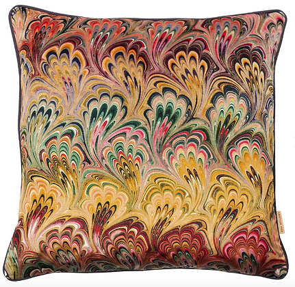 Susi Bellamy Peacock Bouquet Printed Velvet Cushion