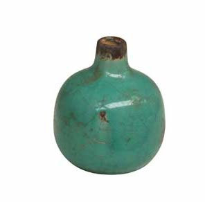 Small Aqua Ceramic Vase with Crackle Finish