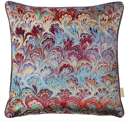 Susi Bellamy Teal Bouquet Printed Velvet Cushion