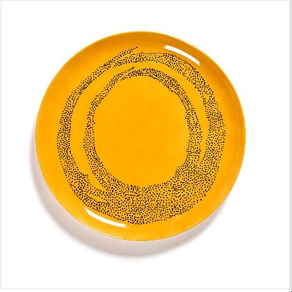 Feast by Ottolenghi Large Earthenware Black Swirls Plate