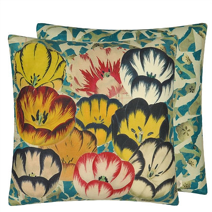 John Derian Tulip Cobalt Linen Mix Cushion