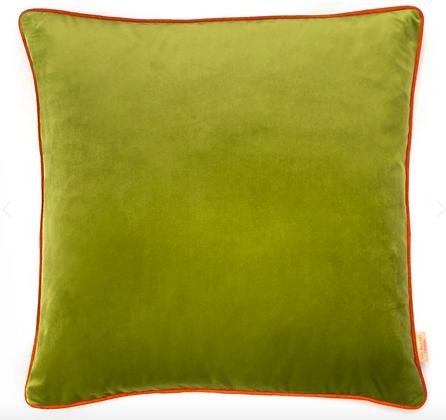 Susi Bellamy Lime Plain Velvet Cushion