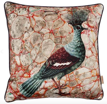 Susi Bellamy Grigua Crowned Pigeon Printed Velvet Cushion