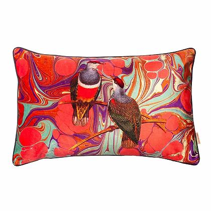 Susi Bellamy Orange Swirl Birds Printed Velvet Cushion