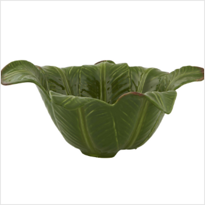 Bordallo Pinheiro Glazed Earthenware Banana Leaf Salad Bowl 37cm
