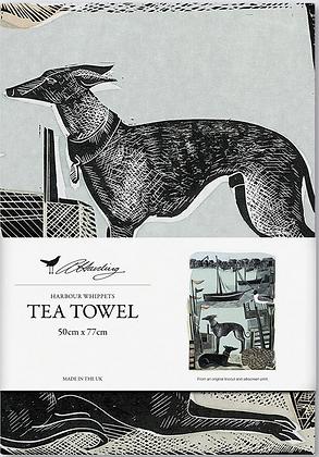 Angela Harding Printed Cotton Tea Towel - Harbour Whippets