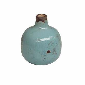Small Light Blue Ceramic Vase with Crackle Finish