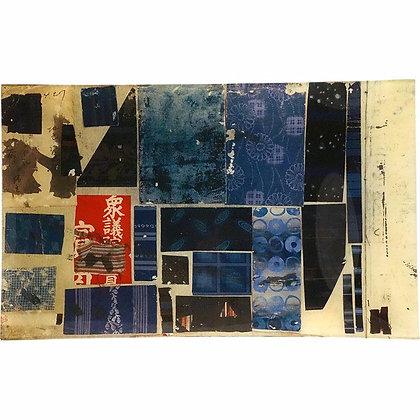 John Derian Indigo Samples Decoupage Rectangular Tray
