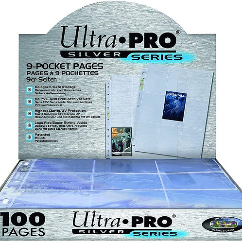 Ultra Pro 9-pocket 100 Silver Series Pages for Standard Size Cards (11 holes)