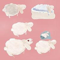 Soft white funny sheep telegram stickers