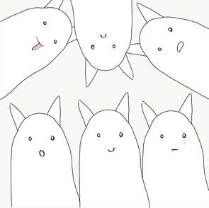 Simple funny cartoon white cats stickers