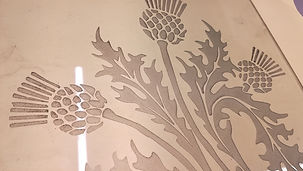 Sandblasted thistle Glass Lab Edinburgh.