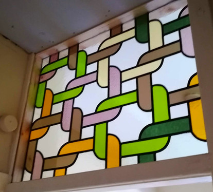 Kitted leadlights. Stained glass panel .