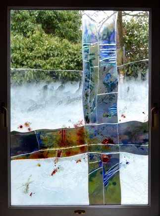 Fused and bonded stained glass. Alison.