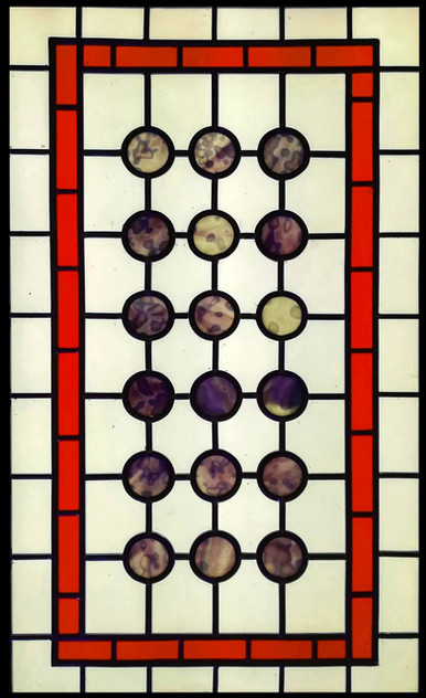 Leaded panel 18 circles. Stained glass door.