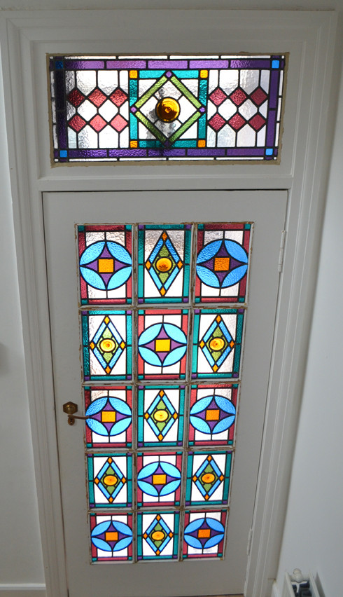 Panelled door. Stained glass Victorian or Edwardian style with a twist.