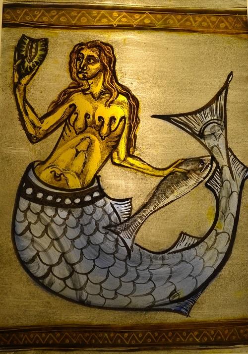 Mermaide_ Medieval reproduction_ Glass paint enamels