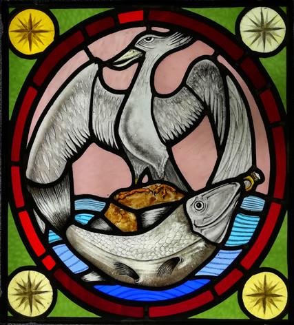 Liver bird and fish panel Glass Lab Edin