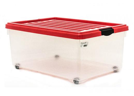 Caja de Plastico Transparente con Tapa Monaco Chica 54cm x 39cm x 25cm