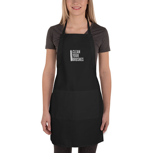 CLEAN YOUR BRUSHES - Embroidered Apron