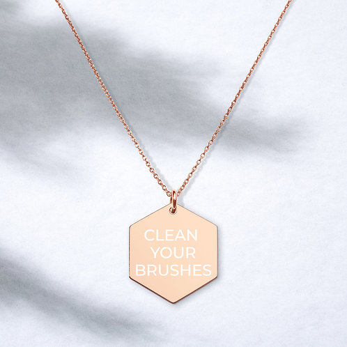Clean Your Brushes - Engraved Silver Hexagon Necklace