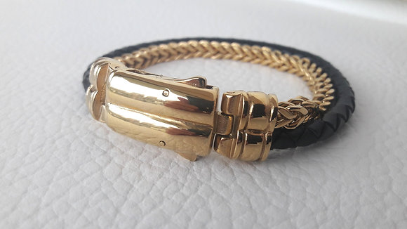 black leather - gold chain