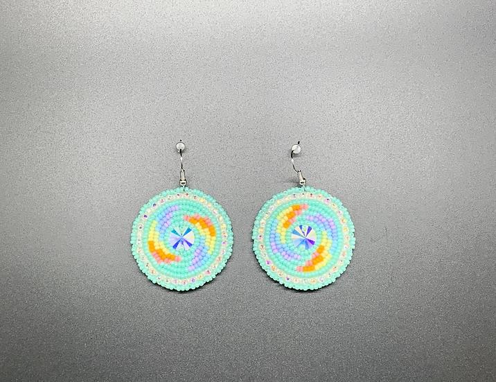 Teal Rainbow Earrings