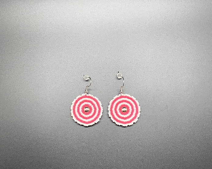 Small Maroon and White Earrings