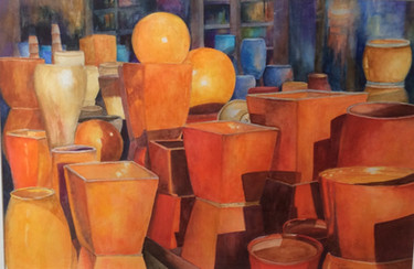 Orange Pots by Martha Wagoner