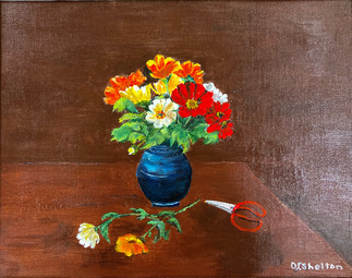 Harvesting The Fall Flowers by Jeannie Shelton
