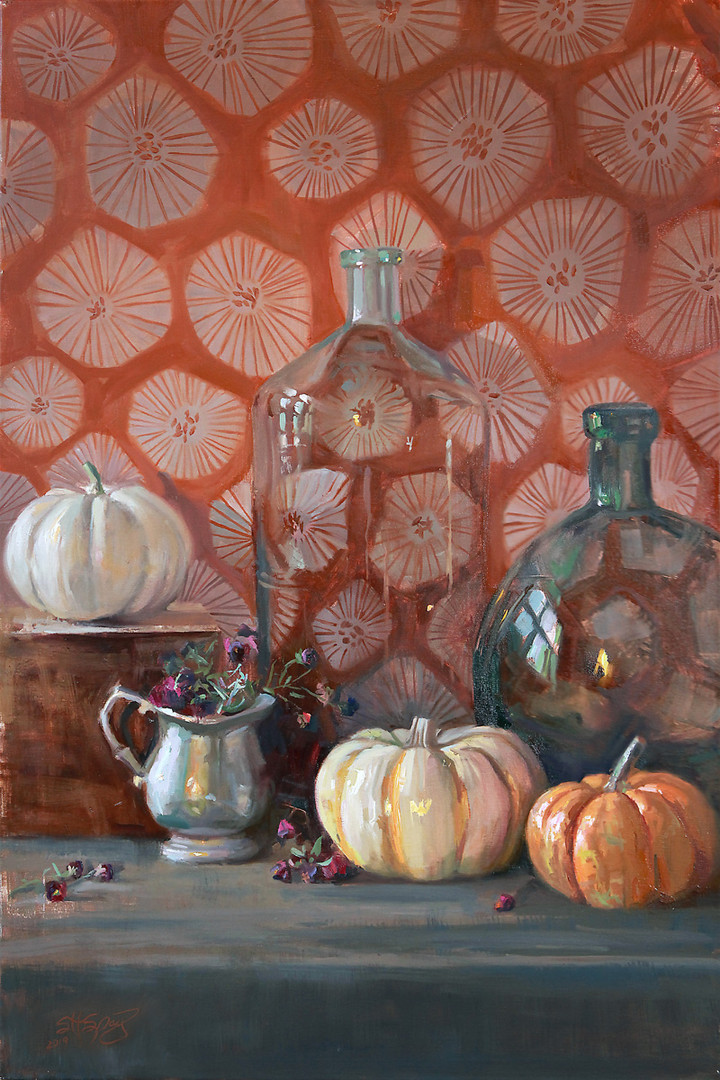 Pewter, Glass, and Squash