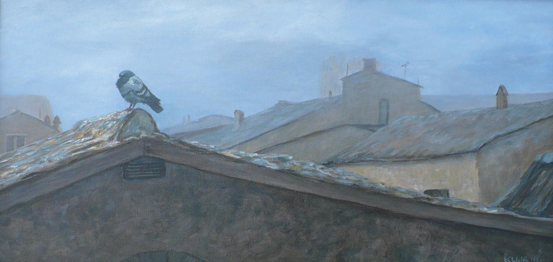 Elaine C. Wolfe, Foggy Morning Rooftop
