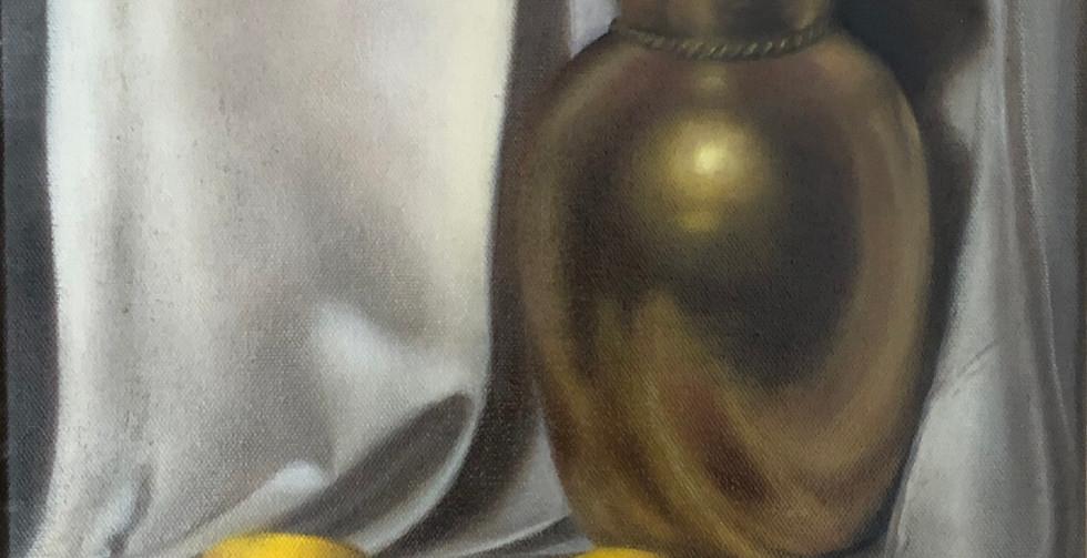 Jennifer Wolfe, Still Life with Brass Vase