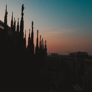 Couché de soleil au Duomo di Milano