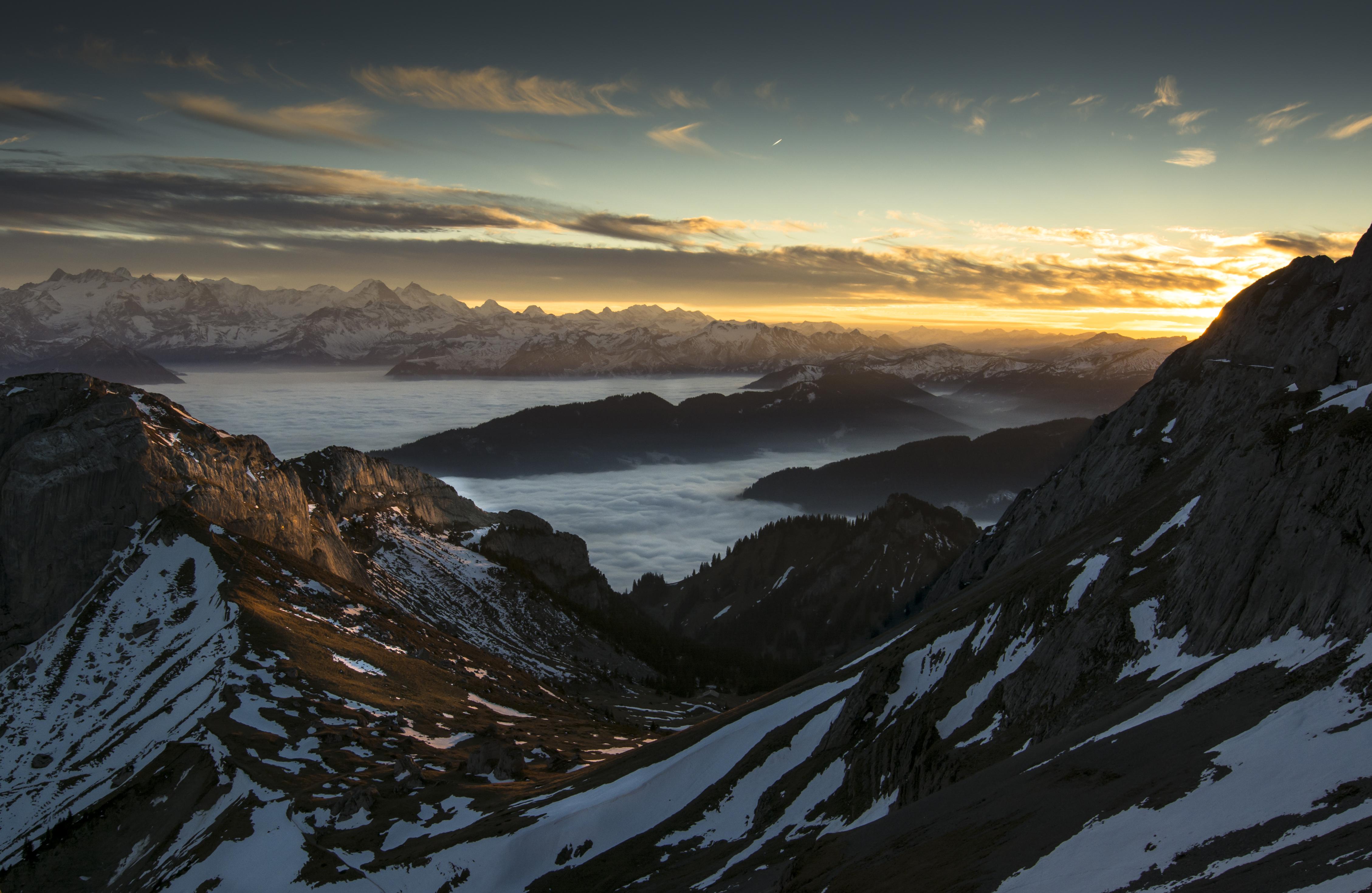 Rigi Kulm, Abendstimmung, Berge