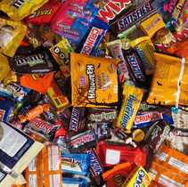 Chip bags, Chocolates and Candy Wrappers