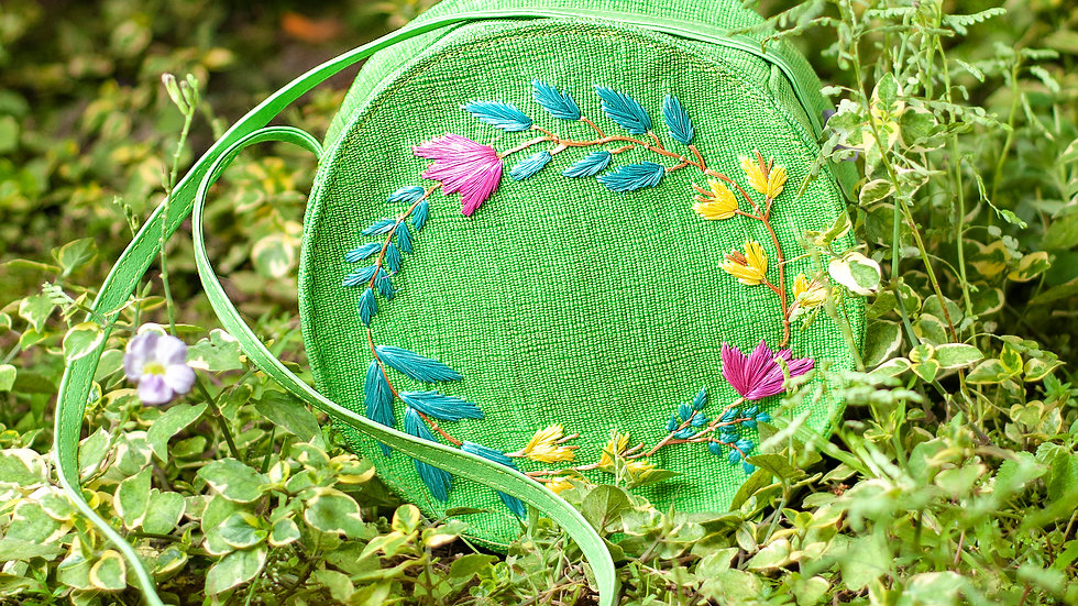 Embroidered Round Sling Bag