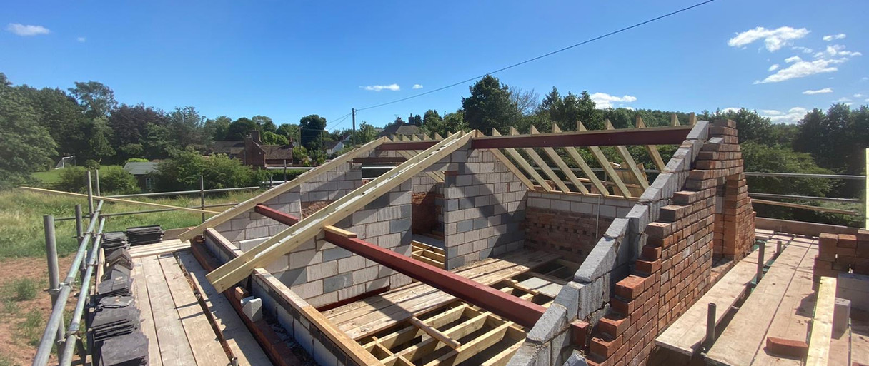 Extension and roof going on