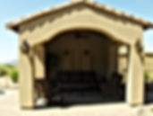 Arizona General Contractor, Casita, Pool shade, backyard, flat finish stucco, stucco, tile roof, outdoor wall sconces