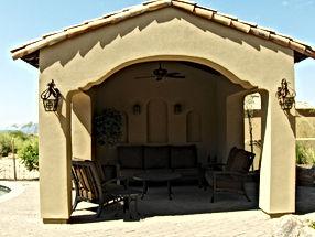 Arizona General Contractor, Casita, Pool shade, backyard, flat finish stucco, stucco, tile roof, outdoor wall sconces